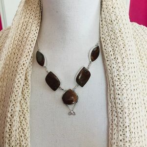 NEW Noreena Jasper 925 Sterling Plated Necklace